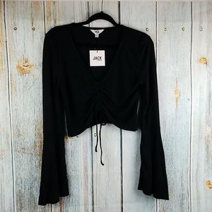 JACK BY BB DAKOTA LEIA BLACK FLOUNCE SLEEVE CROP